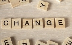Scrabble letters spell out the word 'change'